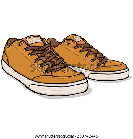 Vector Cartoon Brown Skaters Shoes - stock vector