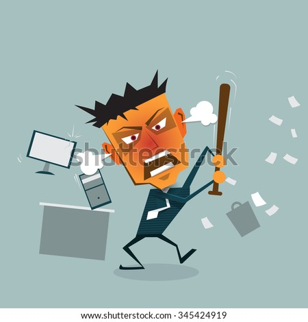 Vector cartoon Business man goes mad at the office. Angry (Crazy, furious) Businessman, office Workers thrash document paper with Baseball bat and hitting Pc computer, Office Equipments In the office  - stock vector