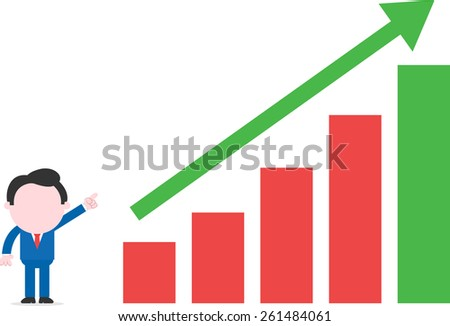 Vector cartoon businessman standing pointing to arrow up bar chart - stock vector
