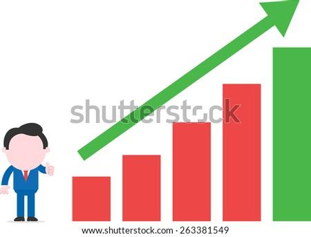 Vector cartoon businessman thumb-up standing beside bar chart with arrow up - stock vector