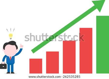 Vector cartoon businessman with idea standing beside bar chart with arrow up - stock vector