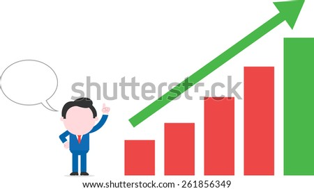 Vector cartoon businessman with speech bubble standing pointing to arrow up bar chart - stock vector