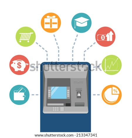 Vector cartoon cash machine and financial icons, banking icons, round button set
