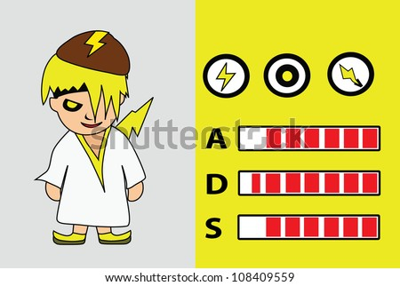 Vector - Cartoon character.Hero of thunder with the power graph.attack,defend and speed. - stock vector