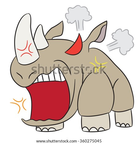vector cartoon character rhinoceros angry