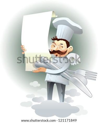 Vector cartoon chef holding a menu and covered over the clouds. Drawing useful to highlight restaurant dishes. - stock vector