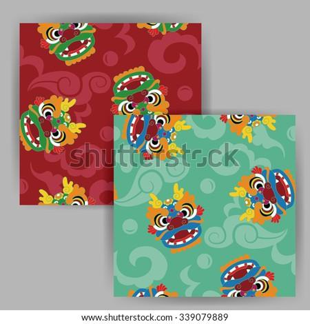 Vector Cartoon Chinese Dragon Head Seamless Pattern - stock vector