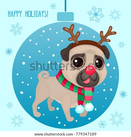Vector cartoon Christmas dog. Symbol of new year 2018. Color illustrations with cute pug in a deer costume. Winter background with Christmas ball and snowflakes.