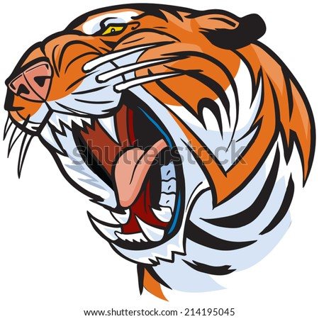 Vector Cartoon Clip Art Illustration of a roaring tiger head. - stock vector