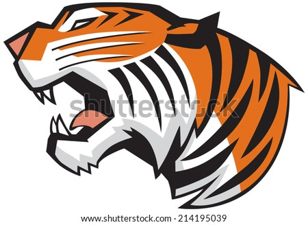 Vector Cartoon Clip Art Illustration of a roaring tiger head in a side view, rendered in a graphic style - stock vector