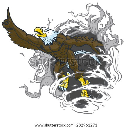 Vector cartoon clip art illustration of a tough muscular bald eagle mascot ripping out of the background while throwing the number one hand gesture. Eagle is on a separate layer in the vector file. - stock vector