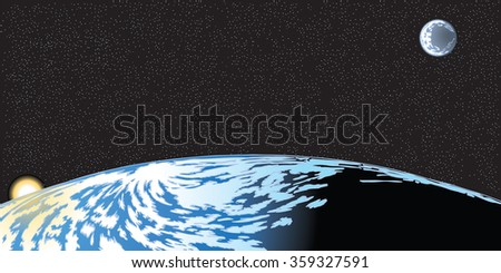 Vector cartoon clip art illustration of the earth horizon seen from space with the rising sun and moon and stars in the background. Important elements are grouped in layers. - stock vector