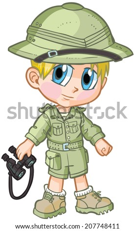 "Vector cartoon clip art of a Caucasian boy wearing a safari outfit, drawn in an anime or manga style. He is in a ""paper doll"" pose, and has binoculars, which is removable if desired.  - stock vector"