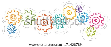 Vector cartoon colorful spinning gears - stock vector