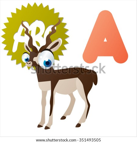 vector cartoon comic illustration for animal funny alphabet. Badges, stickers or logos or icons designs with animals. A is for Antelope - stock vector
