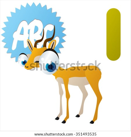 vector cartoon comic illustration for animal funny alphabet. Badges, stickers or logos or icons designs with animals. I is for Impala - stock vector