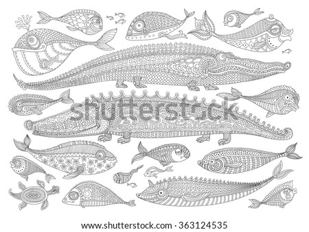 Vector cartoon crocodile, fish, turtle. Black and white doodle hand drawn sketch. Zen tangle  henna tattoo drawing. Humorous nautical character set. Coloring book page for adults, children.Batik paint - stock vector