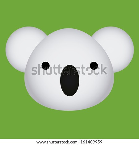 Vector Cartoon Cute Baby Koala Face Isolated