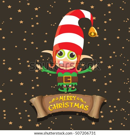 Vector Christmas Elf Merry Christmas Greeting Stock Vector ...
