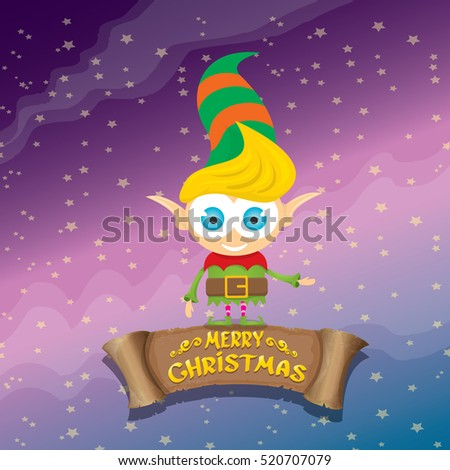 Vector Cartoon Cute Merry Christmas Elf On Violet Sky Background With Lights And Greeting Calligraphic