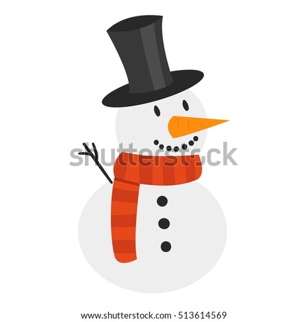 Vector cartoon cute white snowman in clothes with attributes of Christmas in hands on white background