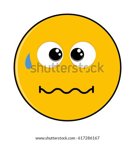 vector cartoon cute worried face isolated stock vector 617286167 rh shutterstock com Nervous Face Cartoon Shocked Face Cartoon