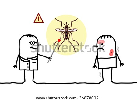 vector cartoon doctor with sick man, mosquito and Dengue - stock vector