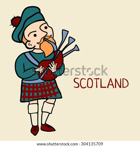 Scotsman Logo Vector Vector Cartoon Doodle Scotsman