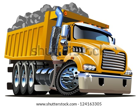 Vector Cartoon Dump Truck - stock vector