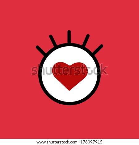 Vector cartoon eye. Red heart. Eps10  - stock vector