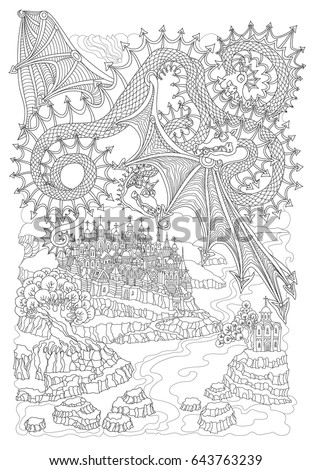 Vector Cartoon Fairy Flying Dragon With Three Heads Membranous Wings Hand Drawn Black And