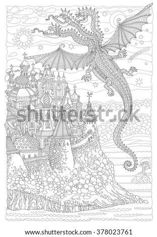 Vector cartoon fairy flying dragon with three heads, membranous wings. Hand drawn.Black, white.Doodle sketch.Zen tangle henna tattoo.Humorous folk character. Tee shirt print. Adults coloring book page - stock vector