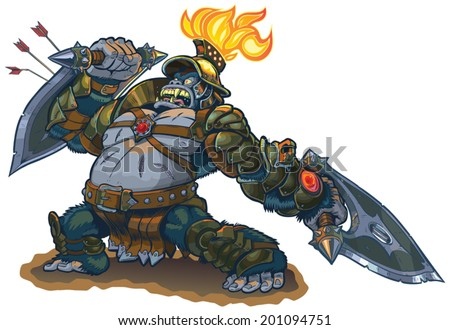 Vector cartoon fantasy illustration of a mighty gorilla warrior in armor with a flaming torch on his helmet. He blocks arrows with his shield blade and in a rage he defies his enemies. Also a bad pun. - stock vector