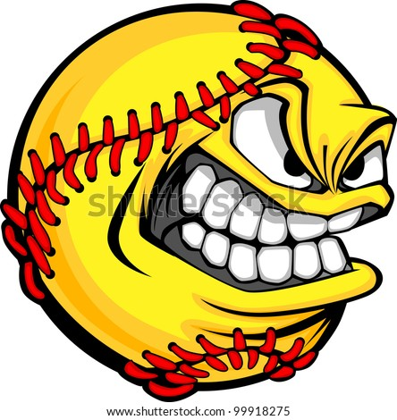 Vector Cartoon Fastpitch Softball with Mean Face - stock vector