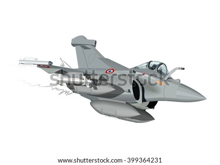 Vector Cartoon Fighter Plane Rafale. Available EPS-10 vector format separated by groups and layers for easy edit - stock vector