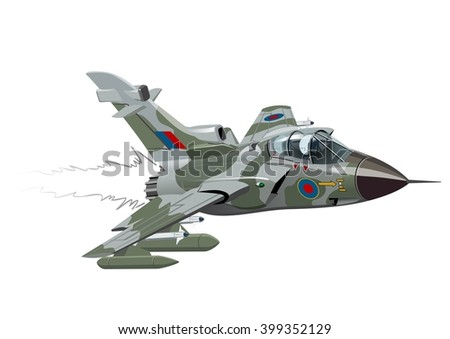 Vector Cartoon Fighter Plane Tornado. Available EPS-10 vector format separated by groups and layers for easy edit - stock vector