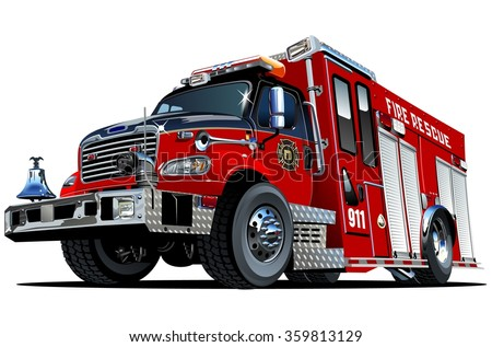 Vector Cartoon Fire Truck. EPS-10 vector format separated by groups and layers for easy edit - stock vector
