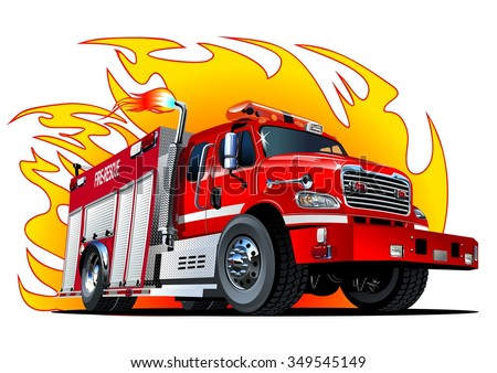 Vector cartoon firetruck. Available EPS-10 vector format separated by groups and layers for easy edit - stock vector