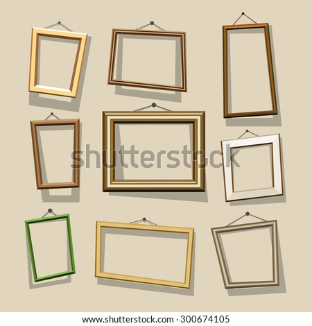 Vector cartoon frames set. Picture and photo, empty and border, art decoration, gallery and exhibition - stock vector