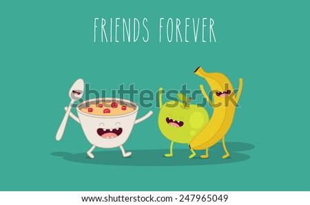 Vector cartoon. fruit diet. Porridge and fruit - stock vector