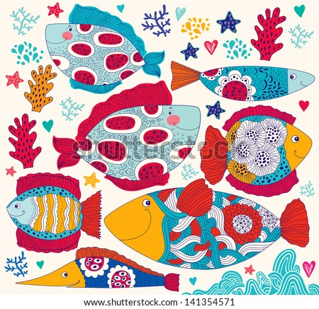 Vector cartoon funny fishes. Underwater life. Holiday card - stock vector
