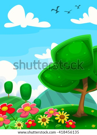 vector cartoon garden with trees in meadow with flowers in blue cloudy sky illustration - stock vector