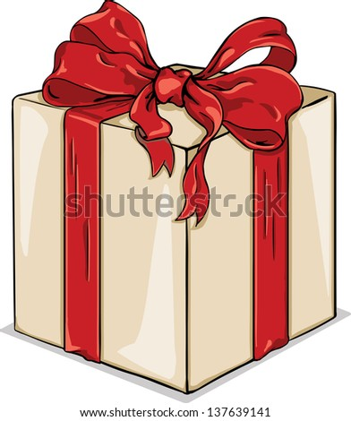 Vector cartoon gift box with red ribbon - stock vector