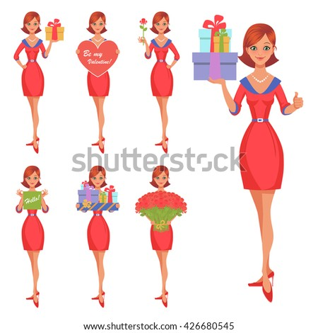 Vector cartoon girl in various poses. Set of nice girl character. Declaration of love, flowers and gifts. Valentine's Day. - stock vector