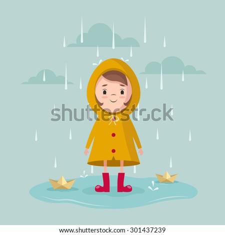 Vector Cartoon Girl with Paper Ships Under the Rain  - stock vector