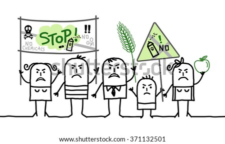 vector cartoon group of people protesting against  toxic agriculture industry - stock vector