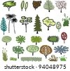 Vector cartoon group selection of trees and shrubs - stock vector