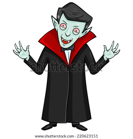 Vector Cartoon Halloween Character - Evil Attacking Vampire