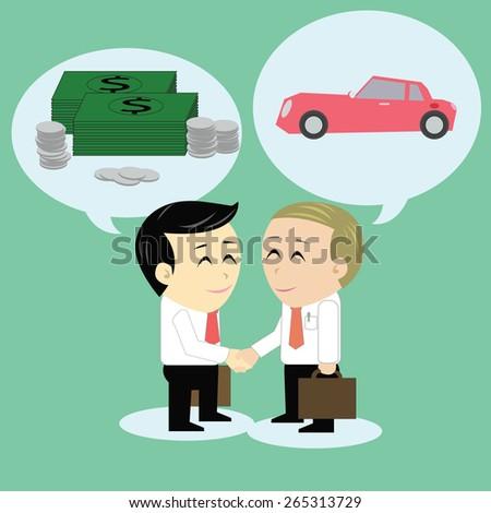 Vector cartoon handshake to buy and sell. - stock vector