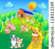 Vector cartoon happy farm animals and pets smile on the summer field front of house. - stock